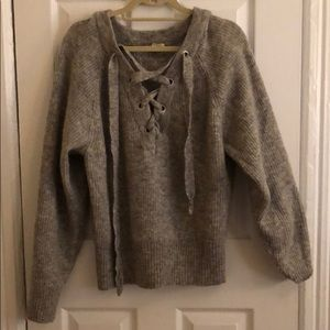 H&M lace up front sweater